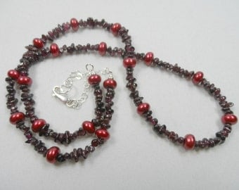 "Red Garnet Genuine Gemstone Chip Necklace with Freshwater Pearls - Sterling Silver Chain & Clasp - 26"" length"