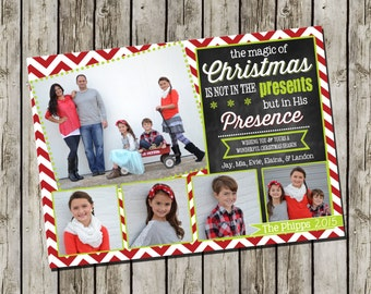 Photo Christmas Card | Chevron Chalkboard | Photo Holiday Card | Digital Christmas Card {L3}