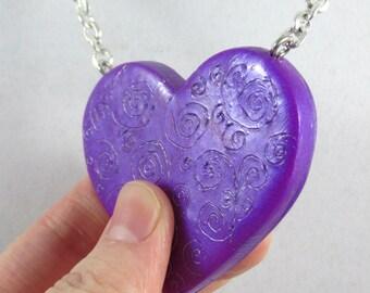 Metallic Purple Filigree Heart Necklace