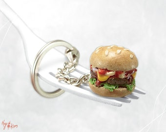 Cheeseburger Keychain, Burger Key Chain, Mini Food, Polymer Clay, Kawaii Accessory, Miniature Food, Foodie gift Teenager, Fast Food Keychain