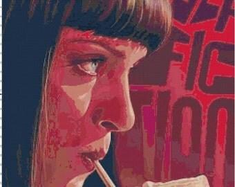 Pulp Fiction Uma Thurman - Mia Wallace - with Milkshake PDF Cross-Stitch Pattern Chart