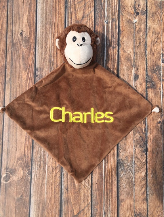 Embroidered Monkey Security Blanket