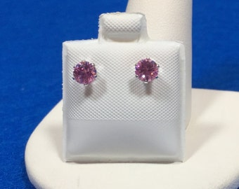 Pink Quartz Sterling silver stud earrings 4mm round
