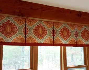 """BOX PLEATED Hidden Rod Pocket® Valance, banded lower edge, fits 61"""" - 80"""" window, constructed using your fabrics my LABOR and lining"""