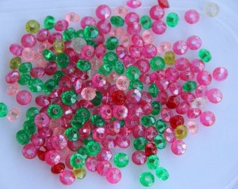 Vintage Faceted Spacer Disc Acrylic Plastic Bead Mix 6x3mm  Red Pink Green Yellow 200 beads