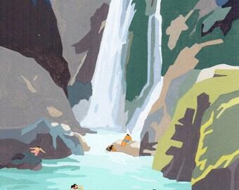 """Original Gouache painting - """"Waterfall"""""""