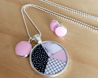 Pink Geometric Necklace and or Earrings