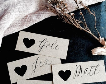 Wedding place cards, Heart Name Tags, Heart Tags, Personalised Heart Tags, Wedding Name Tags, Place Cards, Name Tags, Wedding favour tags
