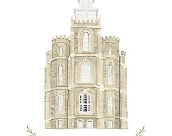 Logan Utah LDS Temple Illustration - Archival Art Print
