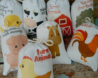 "Farm animals Favor Bags for Birthday/Baby Shower for Treats and gifts can be Personalized 5"" X 7"" or 6"" X 8"" Qty 8"