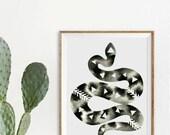 Geometric Snake Print Modern Black and White Artwork Monochrome Print Geometric Watercolor Art Large Poster Print Minimalist Reptile Print