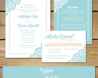 Lace Wedding Invitation Suite, Turquoise Wedding Invitations // DIY Printable Wedding Invites, Lace Invitations // Peach and Teal Invitation