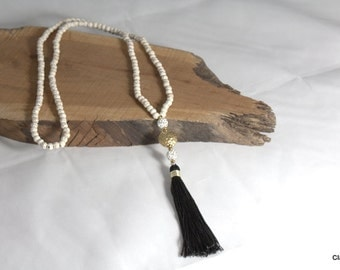 N602 - Long Natural Cream Beaded Necklace - Black Tassel - Long Tassel Necklace