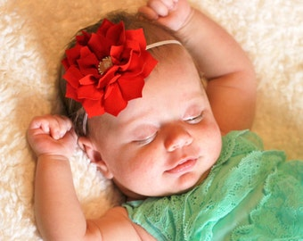 Baby Girl Headband, Winter Flower Headband, Poinsettia Headband, Red Flower Headband, White Floral Headband, Christmas Headband