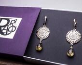 Sterling silver artistan earrings with topaz