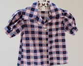 Vintage 70s girls blouse. Toddler top. Girls gingham top. Girls button down. Little girls plaid shirt. 40s style. Mad Men. Size 2-4.
