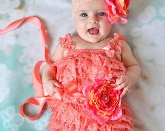 Romper set,peach coral lace romper sash headband SET,petti romper,baby headband,flower headband,vintage inspired headband  lace petti romper