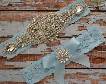 Blue Wedding Garter, Blue Bridal Garter Set, Blue Lace Rhinestone & Pearl Garter Bridal Garter Belt, Something Blue Garter Set, 1B2