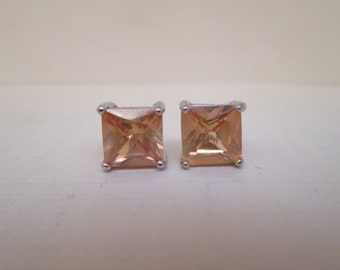 Lovely Citrine Colored CZ in 925 Sterling Silver Earrings