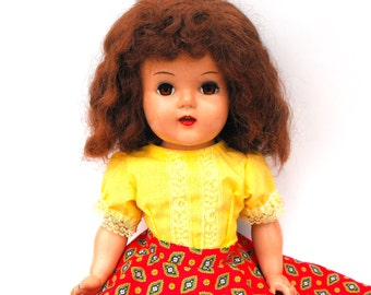1950s Raving Beauty Doll Artisan Novelty Company Miss Gadabout Collectible Toy Vintage Handmade Yellow Lace Dress Bloomers & Red Print Skirt