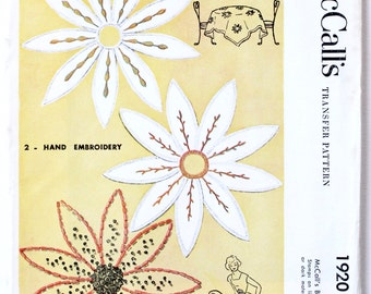 Vintage 1950s Transfer Pattern Daisy Flower Embelishments McCall's 1920