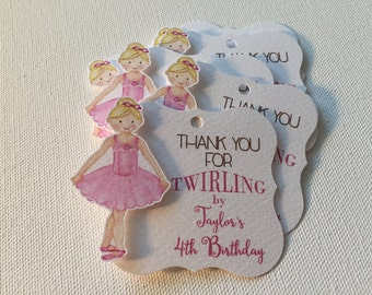Ballerina Birthday Favor Tags, Pink, Girl Birthday, 1st, 2nd, 3rd, 4th, 5th, 6th, 7th Favor Tags, Party Tags, 12 Pack T912