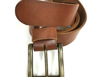 """One of a kind,Handcrafted cognac color leather belt.Men leather belt.Thick leather. Heavy bronze Buckle. 4 cm/ 1.57"""" wide. A Gift For him."""