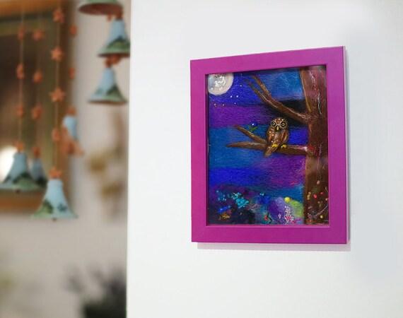 Wool Painting, Felt Painting, Fiber Art Wall Hanging, Framed Art, Owl Painting, Textile Art, Whimsical Art, Waldorf, Nature, Kids Room