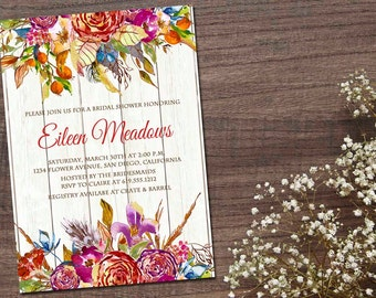 Rustic Invitation, Floral Invitation, Bridal Shower, Wedding Shower, Dinner Party, Engagement Party, Holiday, Printable - Eileen