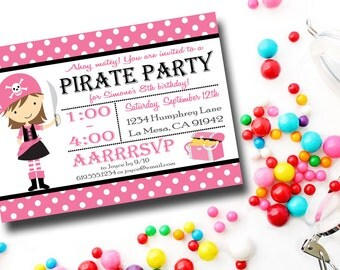 Girl Pirate Birthday Party Invitation, Pink and Black Pirate Invitation, Polka Dots, Printable, Invitations, Invite, Invites