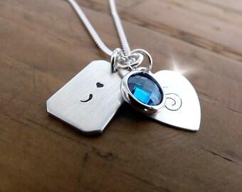Personalised Semicolon  Charm Necklace, Survivor Semicolon Necklace, Silver Semicolon Necklace, Motivational Jewellery
