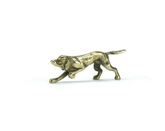 FREE SHIP! Vintage Brass English Pointer Dog Figurine - Mid Century Hound Puppy Labrador Retriever -Dog Lover Gift - Hunting Dog Statue