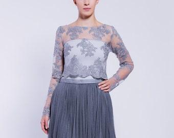 lace blouse, grey lace blouse, elegant top, romantic top, party blouse, jersey top, elegant blouse,
