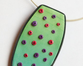 Green purple red polymer clay pendant necklace