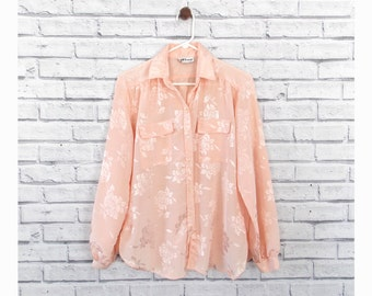 Shiny Pink Floral Womens Blouse   Vintage Pink Women's Blouse Size Medium   Shiny Pink Blouse