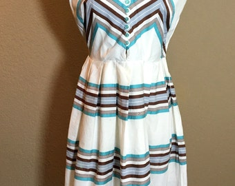 Vintage 1950's Vicky Vaughn Juniors sleeveless cotton dress M/L