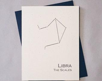Libra Constellation Zodiac Sign Birthday Card / Horoscope / Astrology  Astronomy Card / September - October Birthday