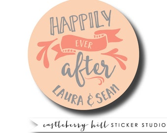 Happily ever after stickers, happily ever after label, treat bag labels, cookie bag label, cake box label, candy buffet label, candy sticker