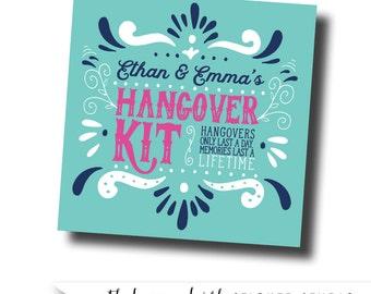 Wedding hangover kit stickers, wedding welcome bag label, hangover kit label, hangover kit tag, wedding gable box label, wedding welcome bag