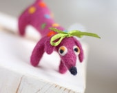 Needle Felt Dachshund - Felted Pink  Dachshund - Valentine Doll - Needle Felted Art Doll - Pink Home Decoration -Needle Felt Dog - Pink Dog