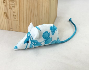 Organic catnip mouse cat toy, white with blue flowers, blue tail white ears