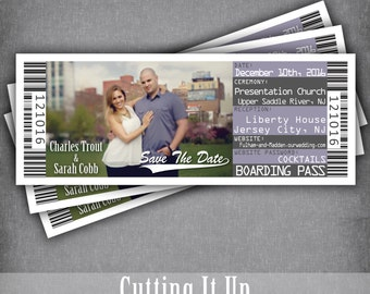 Save The Date Boarding Pass, Destination Wedding Ticket, Wedding Boarding Pass Ticket, Save The Date, Airline Save The Date, Cruise Invite