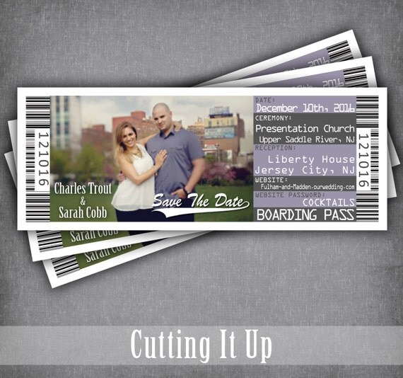 Save The Date Boarding Pass Ticket Destination Wedding