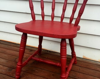 rustic red wooden chair... use to mix & match. solid wooden chair (pick up only)
