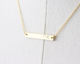 Gold Initial bar necklace - Gold initial and Heart necklace - personalized necklace - Gold hand stamp initial bar necklace