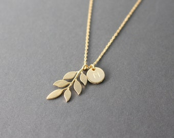 Leaf necklace - Gold Initial necklace - Initial disc necklace - gold Leaf necklace
