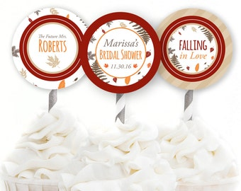 Custom Bridal Cupcake Toppers, Fall Bridal Shower Decorations, Falling In Love Theme, Autumn Shower Decor, Printable Toppers, #37