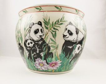 Pandas in Bamboo Outside/Koi in Seaweed Inside - Large, Heavy Ceramic Bowl/Pot - Chinese Incised and Hand-painted Technique - Flower Rim