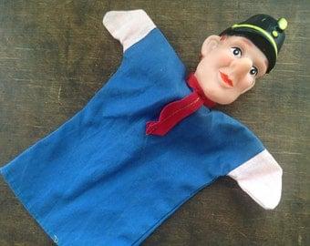 Vintage king hand puppet Vintage toy Handpuppet Policeman Hand doll Policeman Made in Belgium