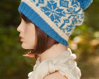 Hand knitted  fair isle hat, beanie, with pompom, blue, withe colors, jacquard hat, woolen hat, for women, Nordic, winter hat, Norwegian.